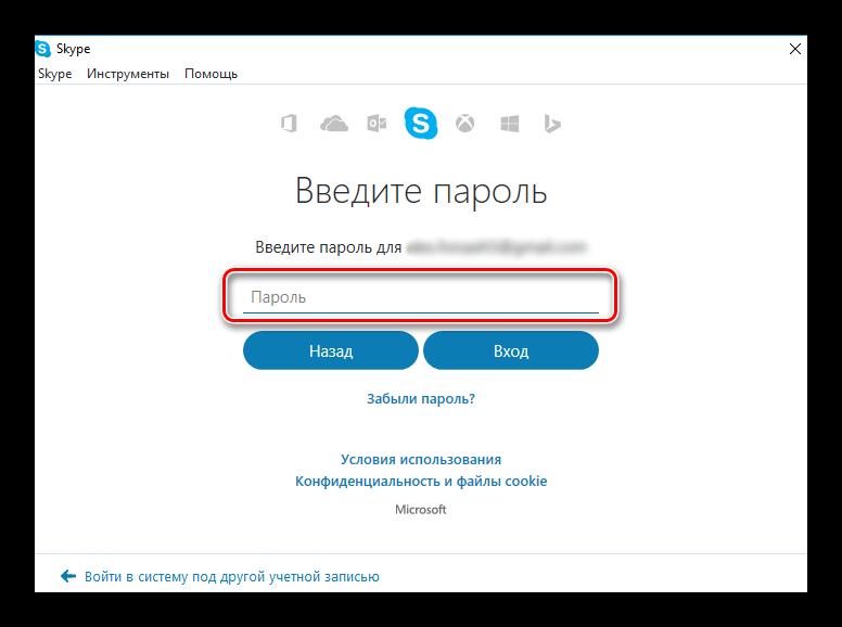 Ввод пароля скайп