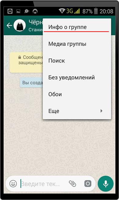 Редактирование группы WhatsApp
