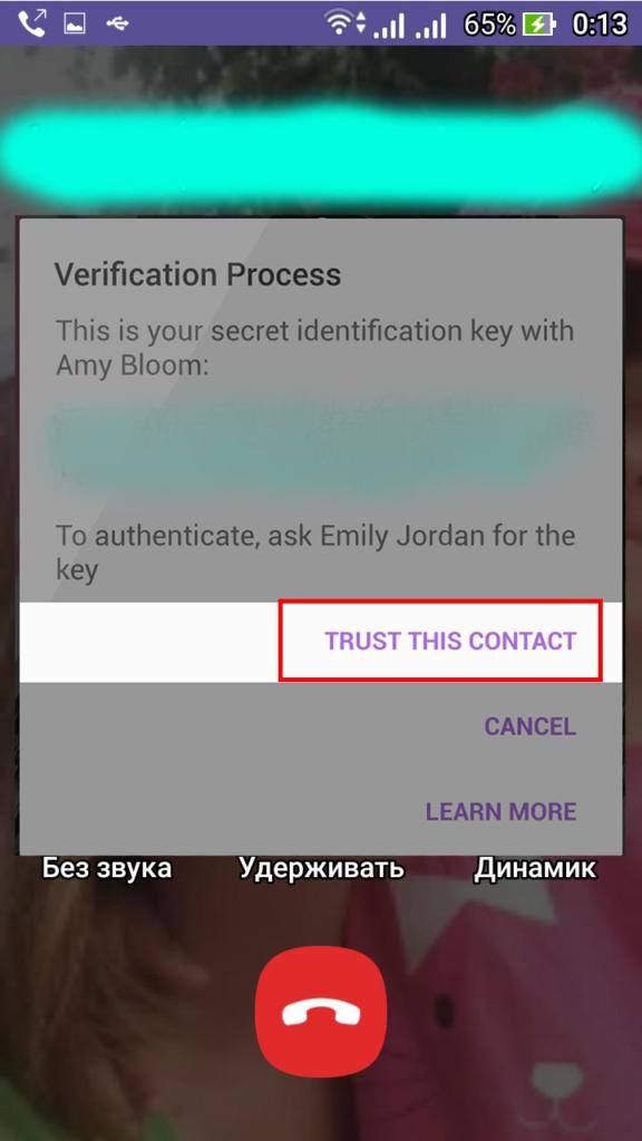 Совпадение кодов позволяет нажать кнопку Верифицировать контакт