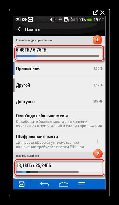 Статистика памяти телефона Android