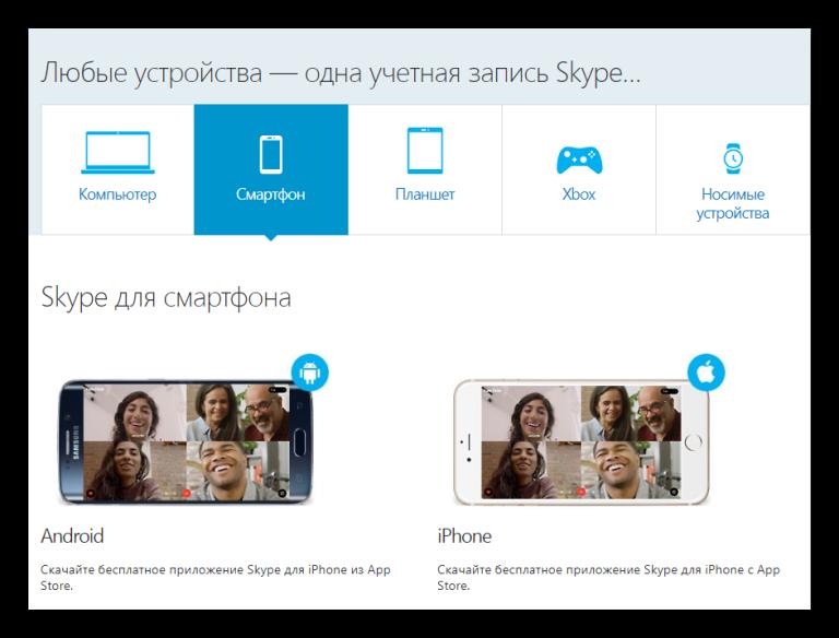 Версии Skype для различных платформ