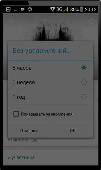 Задание промежутка времени отключения уведомлений WhatsApp