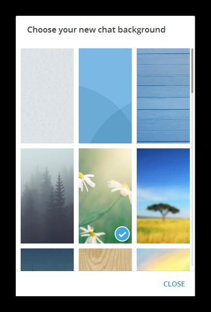 Галерея готовых фоновых изображений впрограмме Телеграм