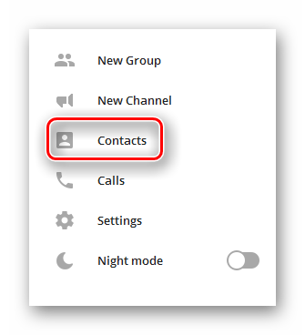Кнопка открытия списка контактов в меню Телеграма