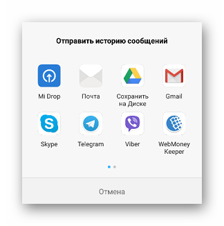 Окно предварительных вариантов для отправки резервной копии сообщений приложения Viber