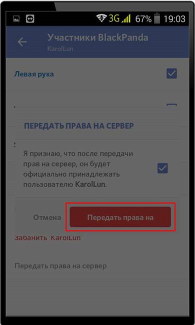 Подтверждение передачи прав на сервер другому пользователю Discord