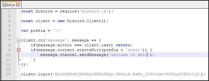 Программный код текстового бота в Дискорде
