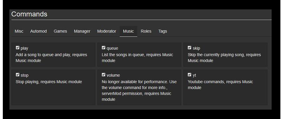 Просмотр командного функционала бота Dyno для воспроизведения музыки Discord