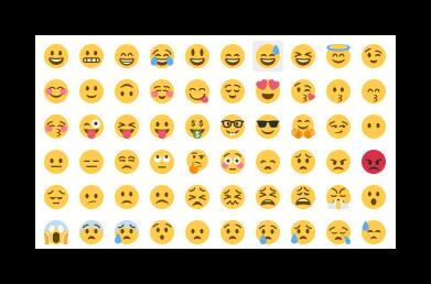Простой набор смайлов в функционале Emoji