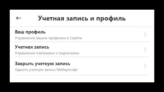 Управление учетной записью Скайп