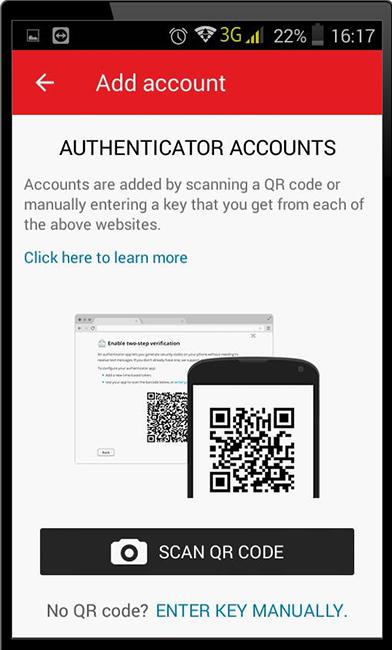 Выбор добавления аккаунта Discord в приложение Authy