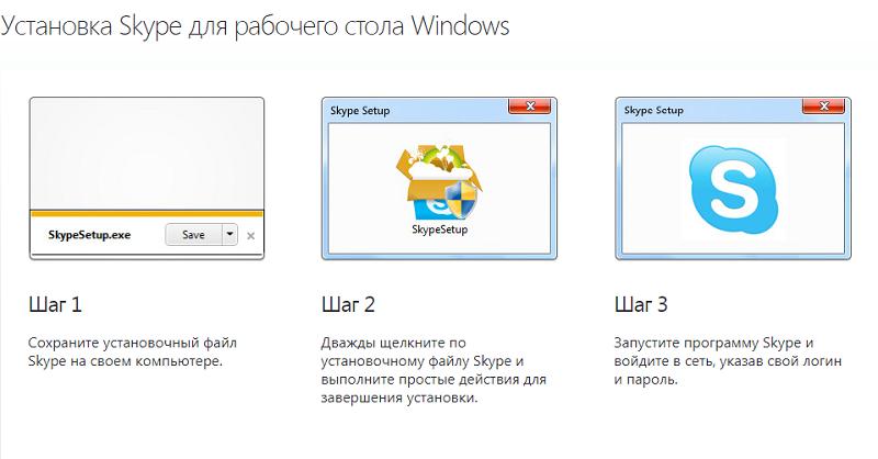 установка скайп (изображенные шаги)