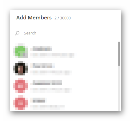Окно добавления участников из контактов в Телеграме