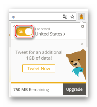 Активация расширения TunnelBear VPN в браузере Google Chrome для доступа к ВКонтакте