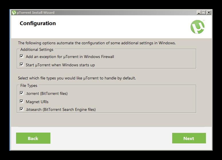Дальнейшая установка utorrent без изменений для Discord