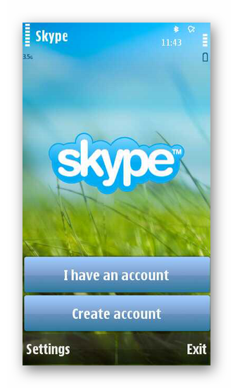Начальный экран Skype для Nokia на основе Symbian OS