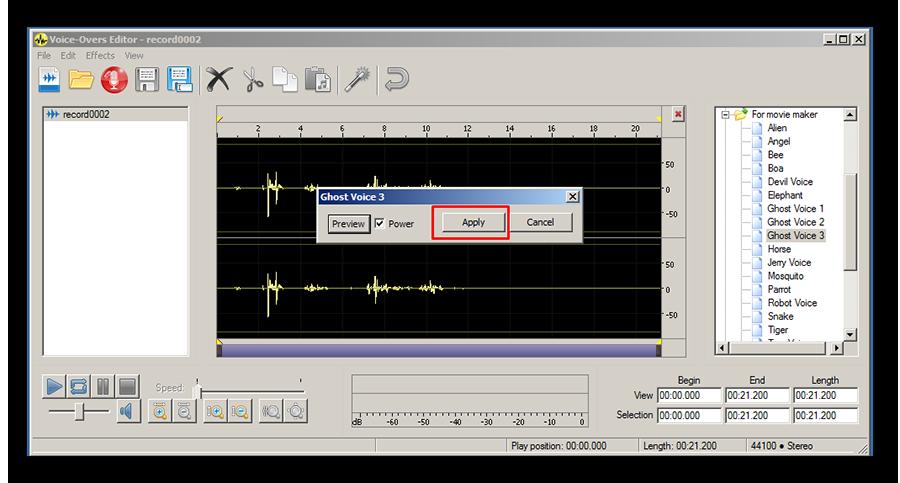 Наложение эффектов на трек в Voxal Voice Changer