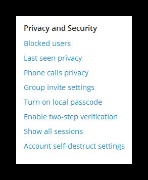Настройки приватности в десктопной версии Телеграма