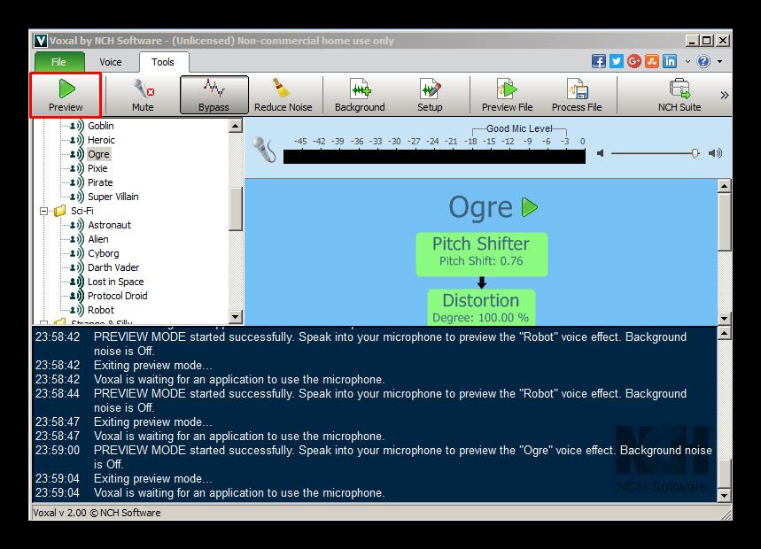 Открытие вкладки Tools в Voxal Voice Changer для изменения голоса Discord