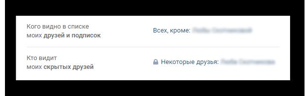 Результат добавления друзей в скрытый список Вконтакте