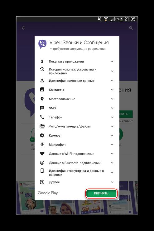 Соглашение со всеми разрешениями, которые необходимо предоставить Viber для работы на Fly