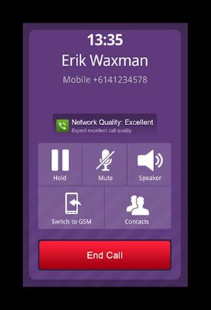 Вид вызова в Viber на смартфонах Nokia Asha