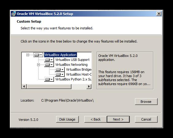 Выбор пути установки VirtualBox для установки Discord на Windows XP