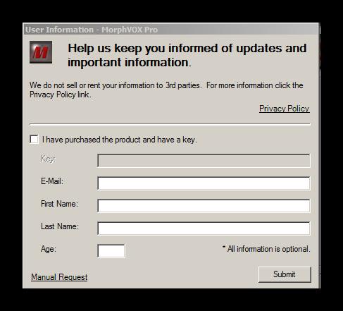 Запрашивание ключа активации MorphVox Pro для Дискорд