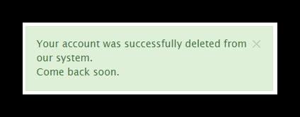 Сообщение об успешном удалении аккаунта из системы Телеграм1