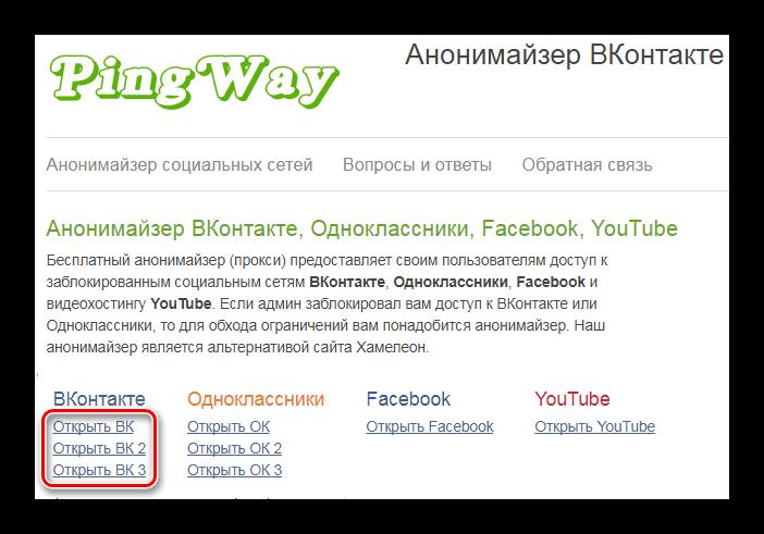 Анонимайзер Ping Way
