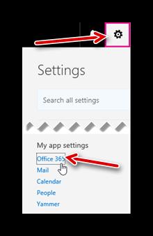 Переход в настройки учётной записи Office 365
