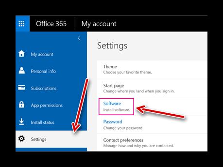 Переход в раздел Software - Office 365
