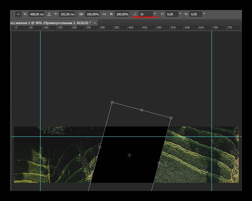 транформирование прямоугольника в adobe photoshop для сообщества vk
