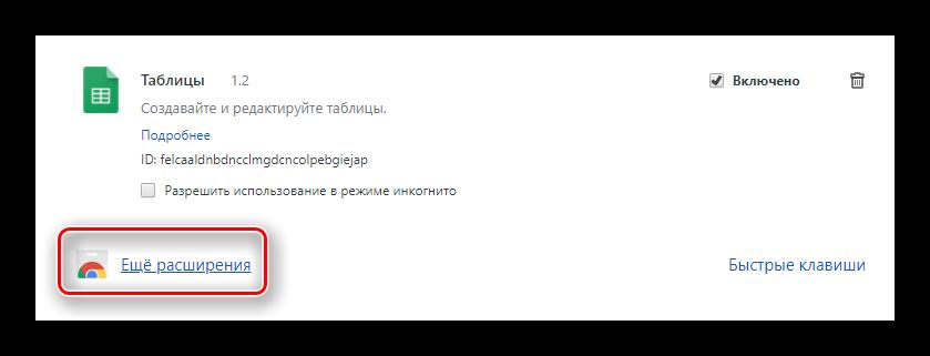 Кнопка открытия всех расширений магазина в Google Chrome