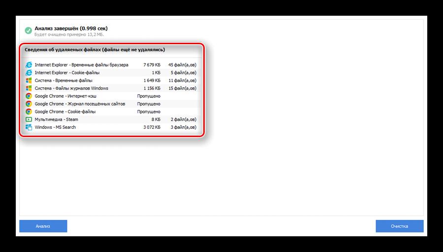 Сведения об удаляемых файлах после анализа программой CCleaner