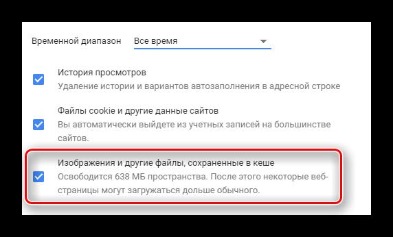 Строка со всеми данными кеша в истории браузера Chrome