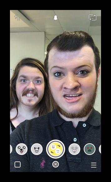 Смена лиц Snapchat