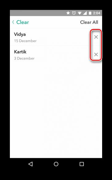 Удаление истории сообщений Snapchat