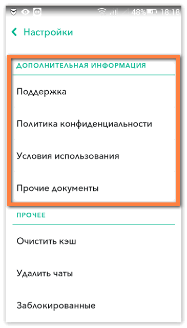 Доп информация Snapchat