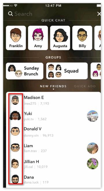 Друзья в Snapchat