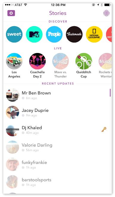 Истоия в Snapchat