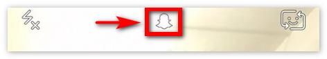 Логотип Snapchat вверху экрана