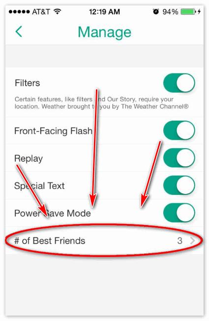 Лучшие друзья Snapchat