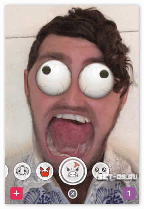 Наложение эффектов в Snapchat