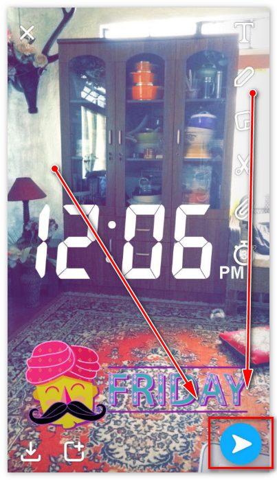 Отправить в Snapchat