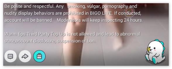 Предупреждение от Bigo Live