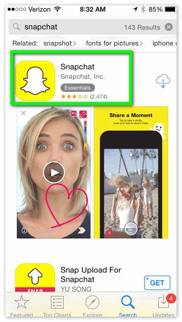 Snapchat Айфон