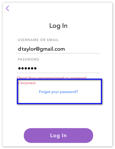Забилы пароль Snapchat