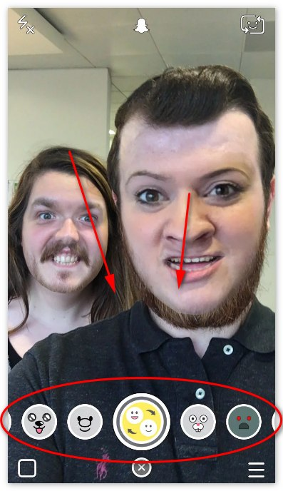 Замена лиц в Snapchat