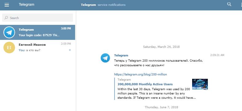 Активированный Telegramm